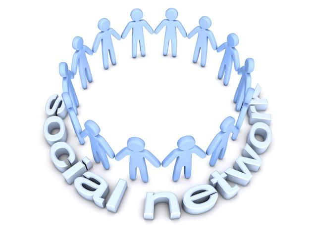 ソーシャルネットワーク。輪になって立っているアイコンの人々のグループ。