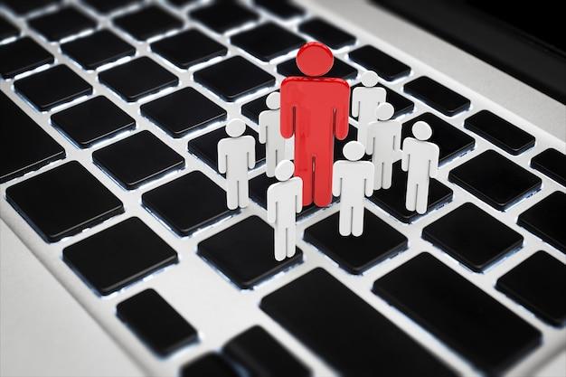 키보드에 사람들의 3d 렌더링 그룹과 소셜 네트워크 개념