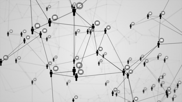 Social network connection people with molecule structure black color white background