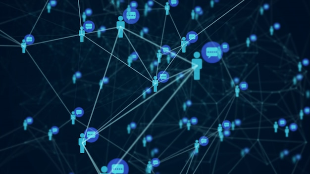 Social network connection people with molecule structure blue color black background