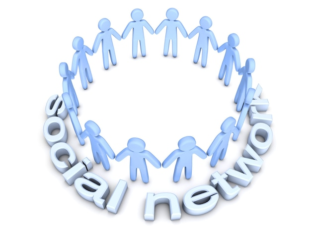 Social network. a group of icon people standing in a circle.