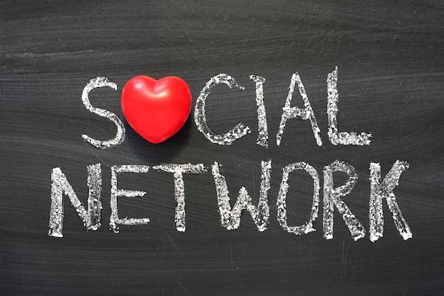 学校の黒板に手書きのソーシャルネットワークフレーズ