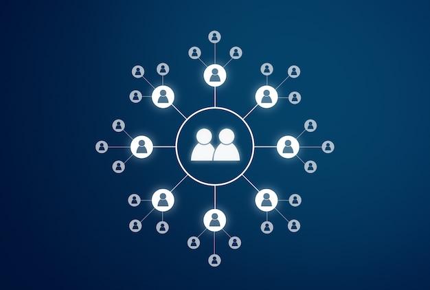 青の背景にソーシャルネットワーキングと接続技術のアイコン