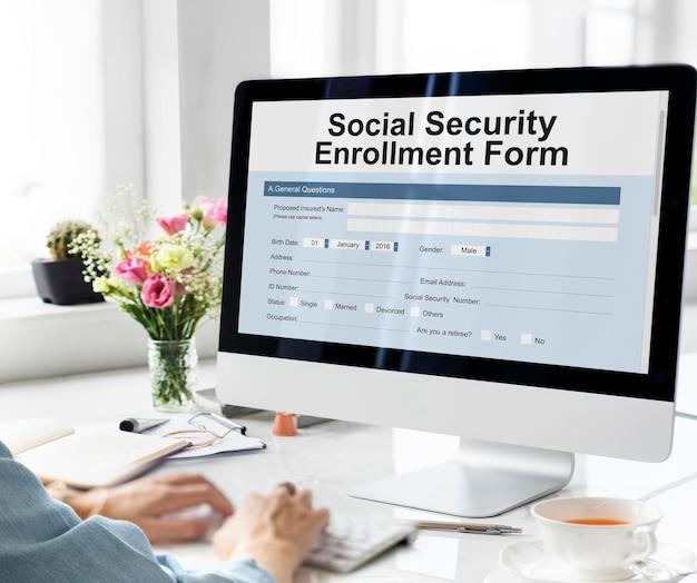 Concetto di modulo di iscrizione alla sicurezza sociale