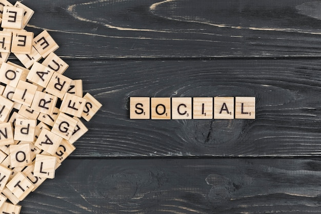 Social word on wooden background