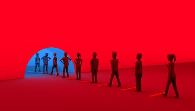 Общество входит в новую нормальную жизнь после covid-19. концепция социального дистанцирования. 3d визуализация.