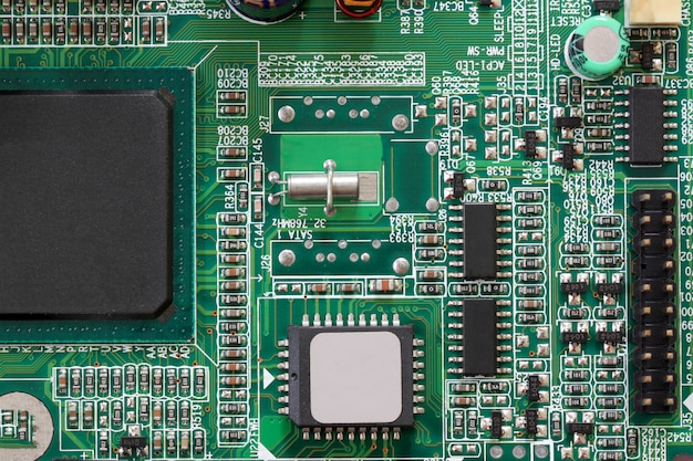 Socket electronics components on pc computer mainboard.