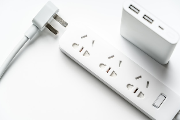 Socket plug electric power bar and white silver power bank