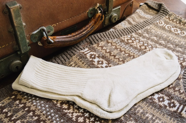 Socks and vintage suitcase