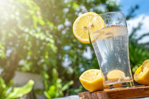 Soda lamon water in clear glass