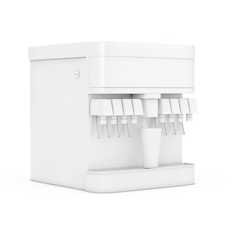 白い背景の上の粘土スタイルであなたのデザインのための空きスペースを持つソーダソフトドリンクディスペンサーモックアップ。 3dレンダリング