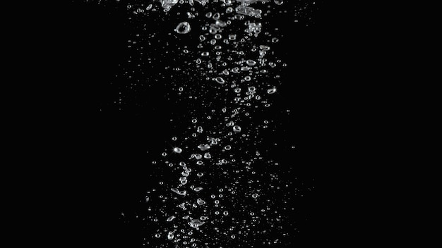 Soda water bubbles splashing and floating drop in black background represent sparkling and refreshing Premium Photo
