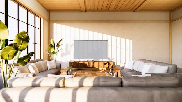 소파와 흰 벽 배경에 일본 거실 캐비닛, 3d 렌더링