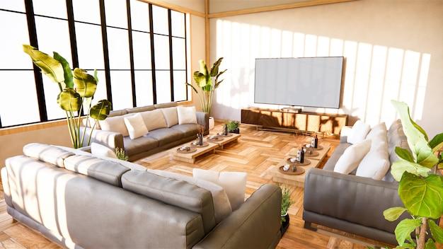 Диван и шкаф в японской гостиной на фоне белой стены, 3d-рендеринг