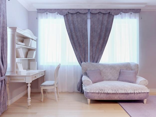 Диван и стол в стиле ар-деко в спальне