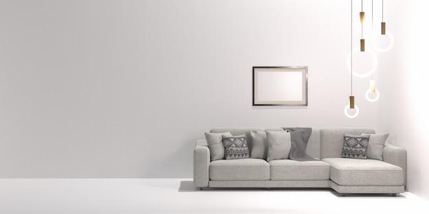 Диван и современная люстра на белой стене