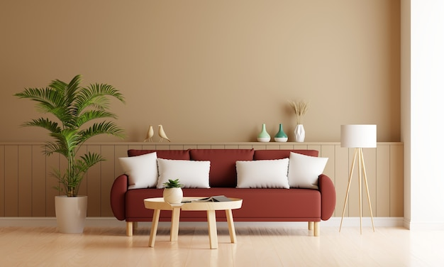 Sofa in brown living room interior with free space