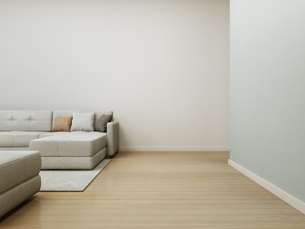 Sofa and carpet on wooden floor with empty white concrete wall