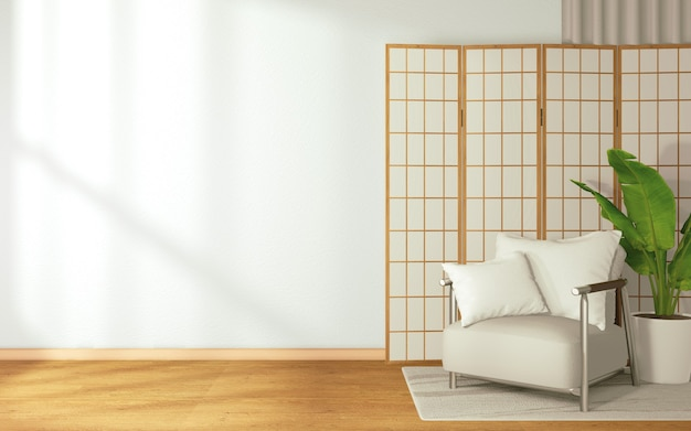 Sofa and chair with japanese backdrop in a tropical style on room japan style.3d rendering