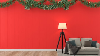 Sofa christmas gift wood wall floor tree template background decoration template