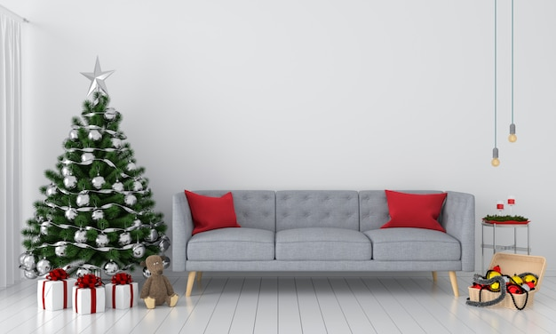 Sofa and christmas tree in living room