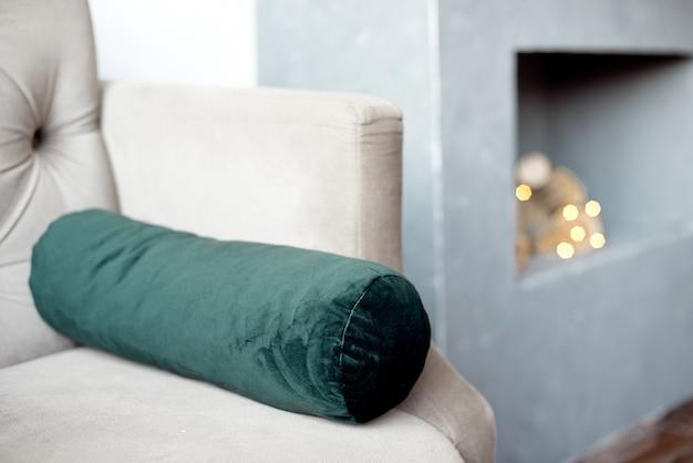 Sofa and fireplace
