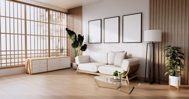 Диван мебель и макет современный дизайн комнаты минимальный. 3d визуализация