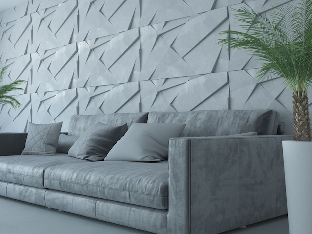Диван в современной серой комнате с пальмой