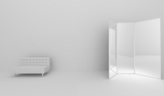 Диван в номере и зеркальном стекле, 3d-рендеринг