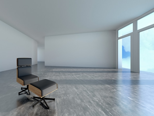 Диван в комнате с тенью окна, 3d-рендеринга