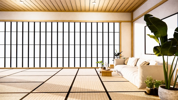 Sofa japanese on room  japan and the white.3d rendering