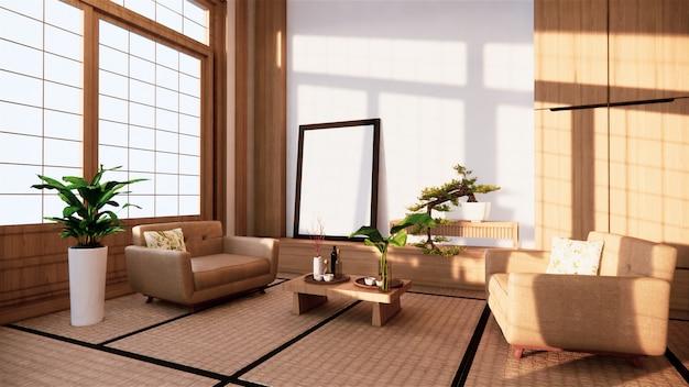 部屋にソファー和風。 3dレンダリング