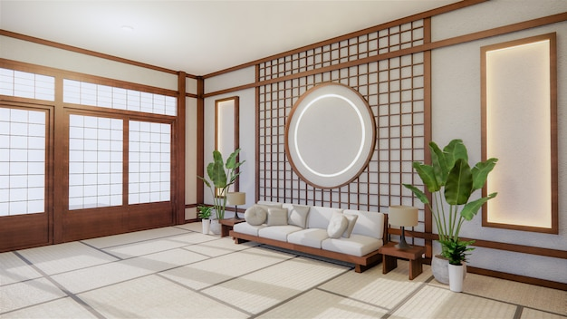 Sofa japanese style on room. 3d rendering