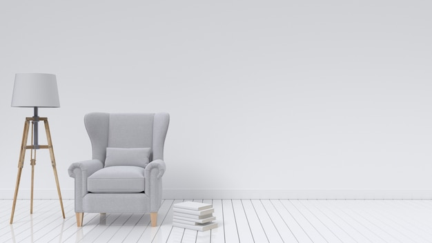 Sofa and lamp on empty white wall background modern