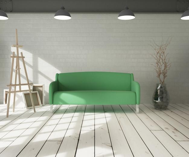 Sofa in modern apartment setting