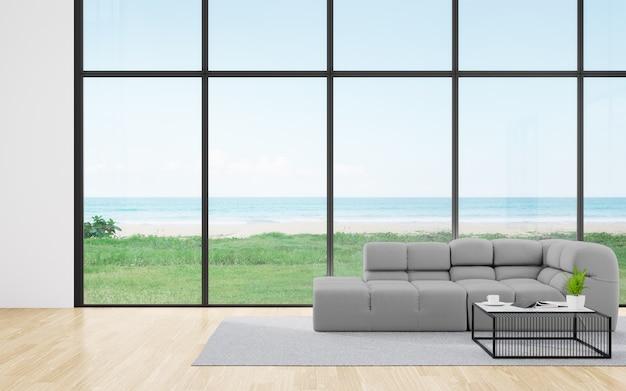 空と海の景色を望むモダンな家や高級ホテルの広いリビングルームの木の床にソファ