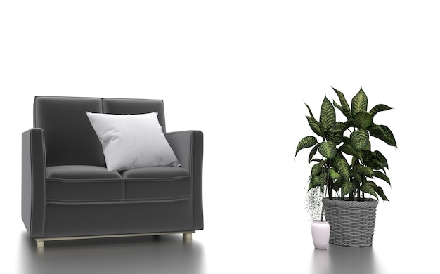 Диван подушки растений в белом фоне. 3d рендеринг