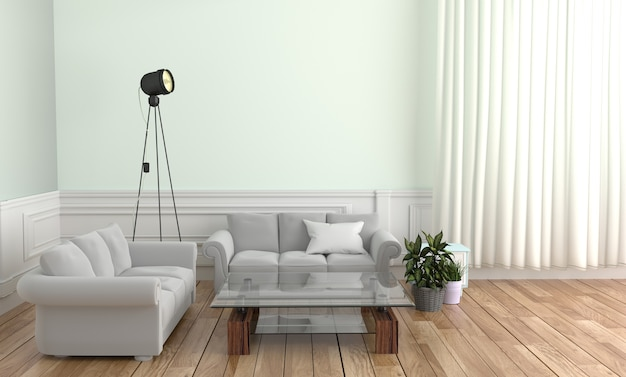 Sofa pillow table lamp and frame, wooden floor on white wall background. 3d rendering