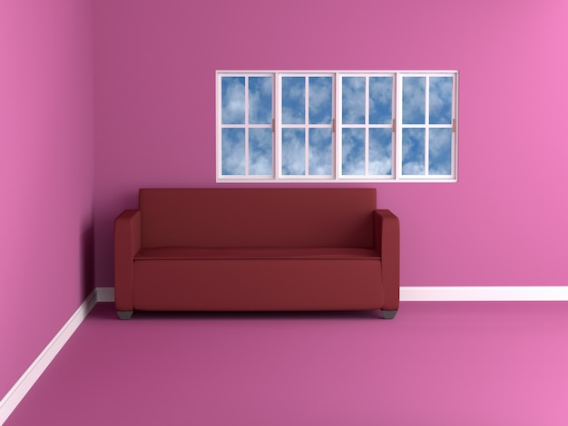 Sofa in pink room