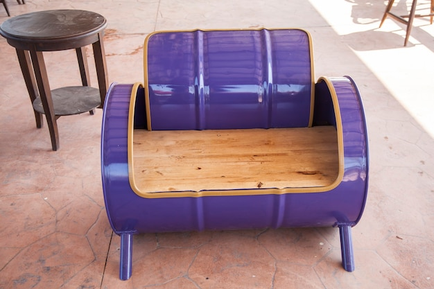 Sofa recycled from old oil tank