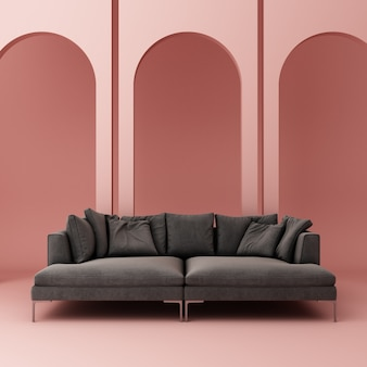 Sofa with pink arch wall