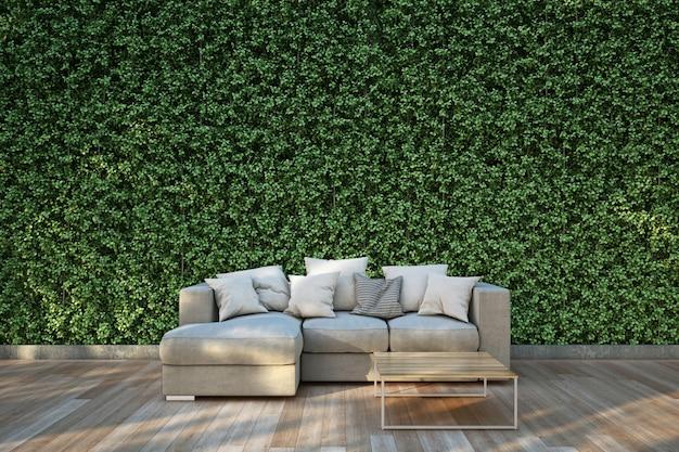 Sofa on wood deck in the garden Premium Photo