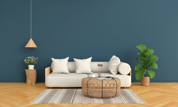 Sofa and wood round table in blue living room