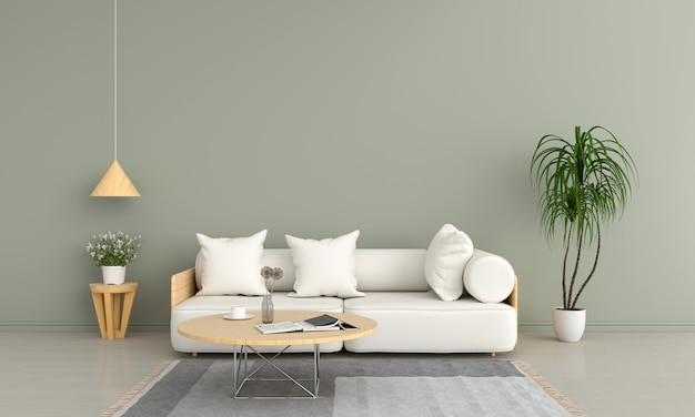 Sofa and wood round table in green living room