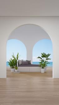 Sofa on wooden floor of living room in modern house or luxury hotel