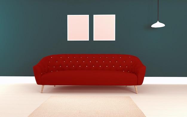 赤いsofacouchと現実的なテーブルとインテリアのモダンなリビングルームの3 dレンダリング