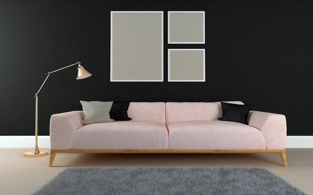 Sofacouchとテーブルを備えたモダンなインテリアのリビングルームの3 dレンダリング