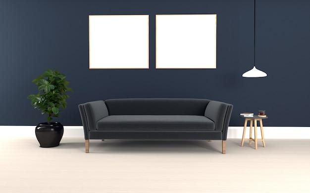 Sofacouchとテーブルを備えたインテリアのモダンなリビングルームの3dレンダリングされた黒いソファ