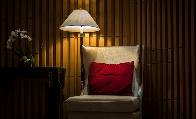 Sofas in luxury hotels with night lights