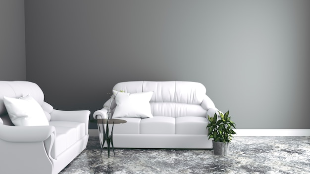 Sofas the wall with table and vase - modern room. 3d rendering